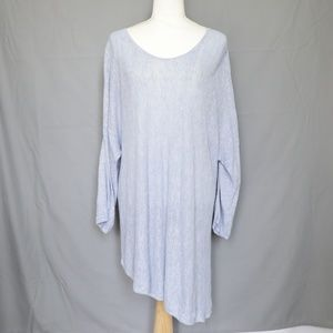 Eileen Fisher Linen Asymmetrical Top Blue  3X